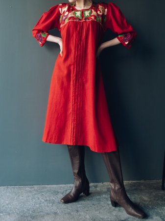 Red Colored Embroidery Dress