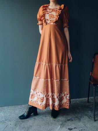 70s Puff Shoulder Long Dress