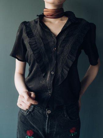 Half Sleeves Black Frill Blouse