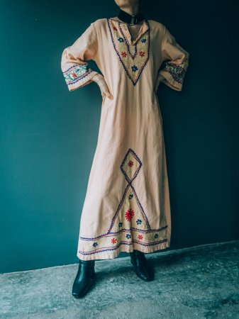 Embroidery Salmon Pink Colored Dress