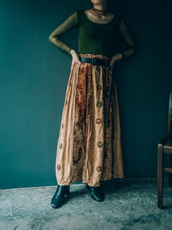 Embroidery Rayon Skirt / Beige