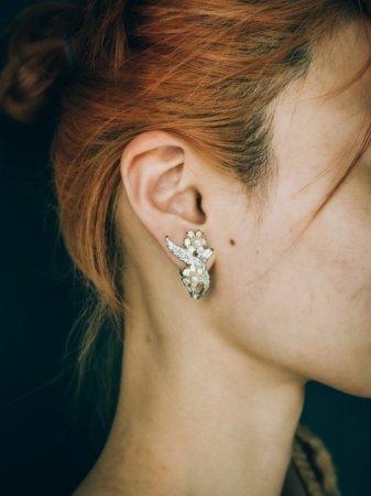Flower&Leaf Motif Earrings