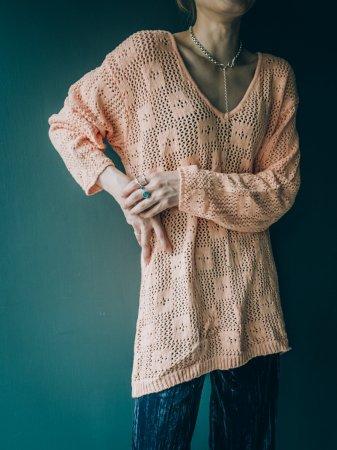 V Neck Cotton Knit