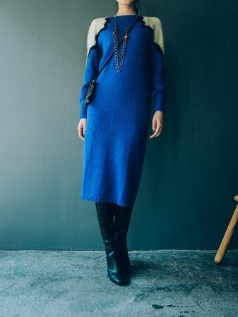 80s Knit Dress / Blue