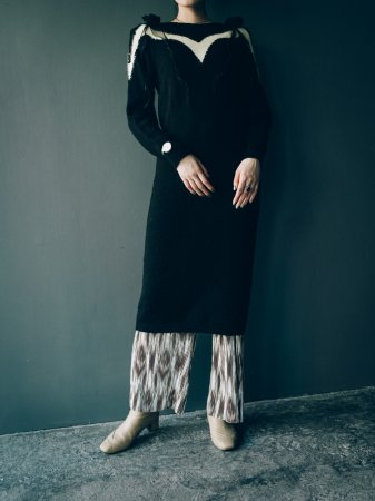 80s Knit Dress / Black
