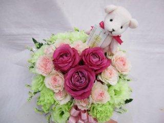 ■ピンクハートのアレンジメント(アロマべア付)