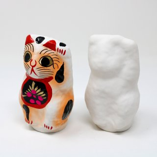 招き猫(左手上げ/白仕上げ)