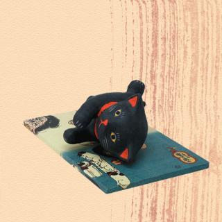 Ukiyo-e Cat kuro / yasuragi「浮世絵猫 くろ/やすらぎ」
