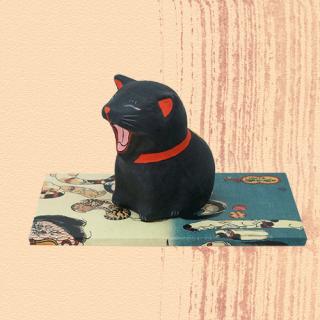 Ukiyo-e Cat kuro / akubi「浮世絵猫 くろ/あくび」