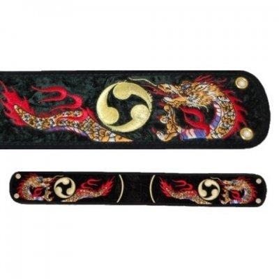 三線用胴巻き(ティーガ)ドラゴン刺繍黒 江戸紐付き