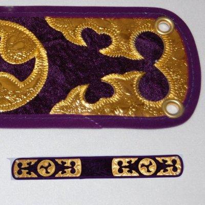 三線用胴巻き(ティーガ)ベロア調/紫色 江戸紐付き