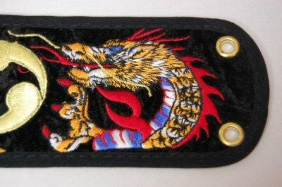 セット用 三線用胴巻き(ティーガ)ドラゴン刺繍黒 江戸紐付き