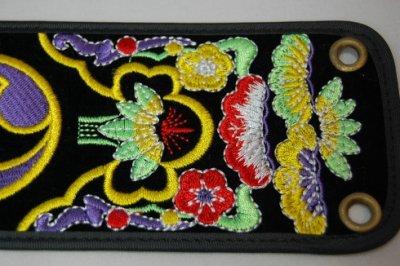 セット用 三線用胴巻き(ティーガ)カラフル刺繍黒 江戸紐付き