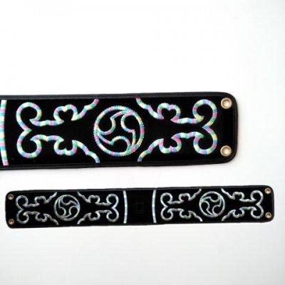 セット用 三線用胴巻き(ティーガ)レインボー刺繍 江戸紐付き