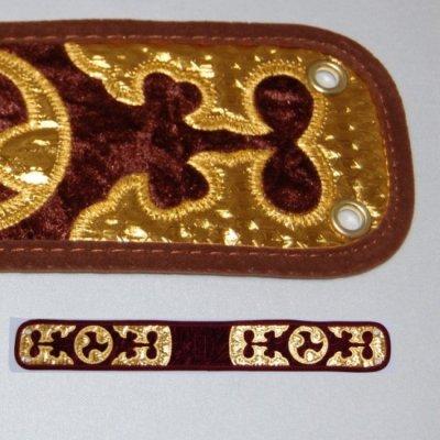 セット用 三線用胴巻き(ティーガ)ベロア調/茶色 江戸紐付き