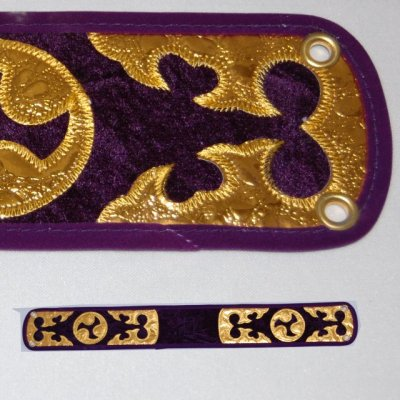 セット用 三線用胴巻き(ティーガ)ベロア調/紫色 江戸紐付き