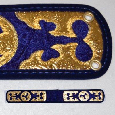 セット用 三線用胴巻き(ティーガ)ベロア調/青色 江戸紐付き