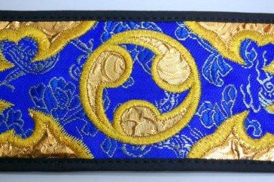 セット用 三線用胴巻き(ティーガ)ゴールド刺繍/青 江戸紐付き