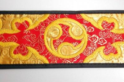 セット用 三線用胴巻き(ティーガ)ゴールド刺繍/赤 江戸紐付き