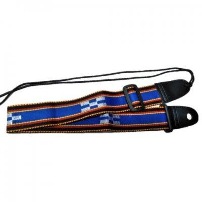 三線用 ショルダーストラップ 肩掛けベルト (ミンサー青)