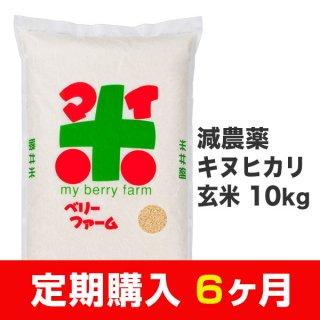 【定期購入6ヶ月分】減農薬キヌヒカリ 玄米 10kg