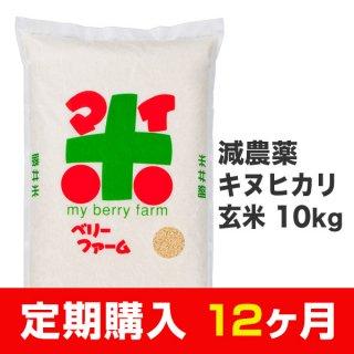 【定期購入12ヶ月分】減農薬キヌヒカリ 玄米 10kg
