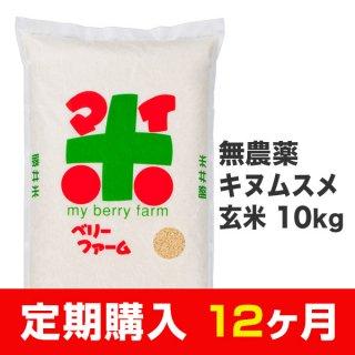 【定期購入12ヶ月分】無農薬キヌムスメ 玄米 10kg