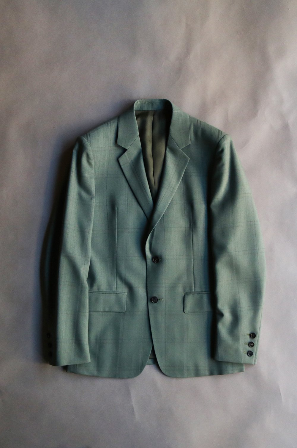 Wool nylon check tailored jacket