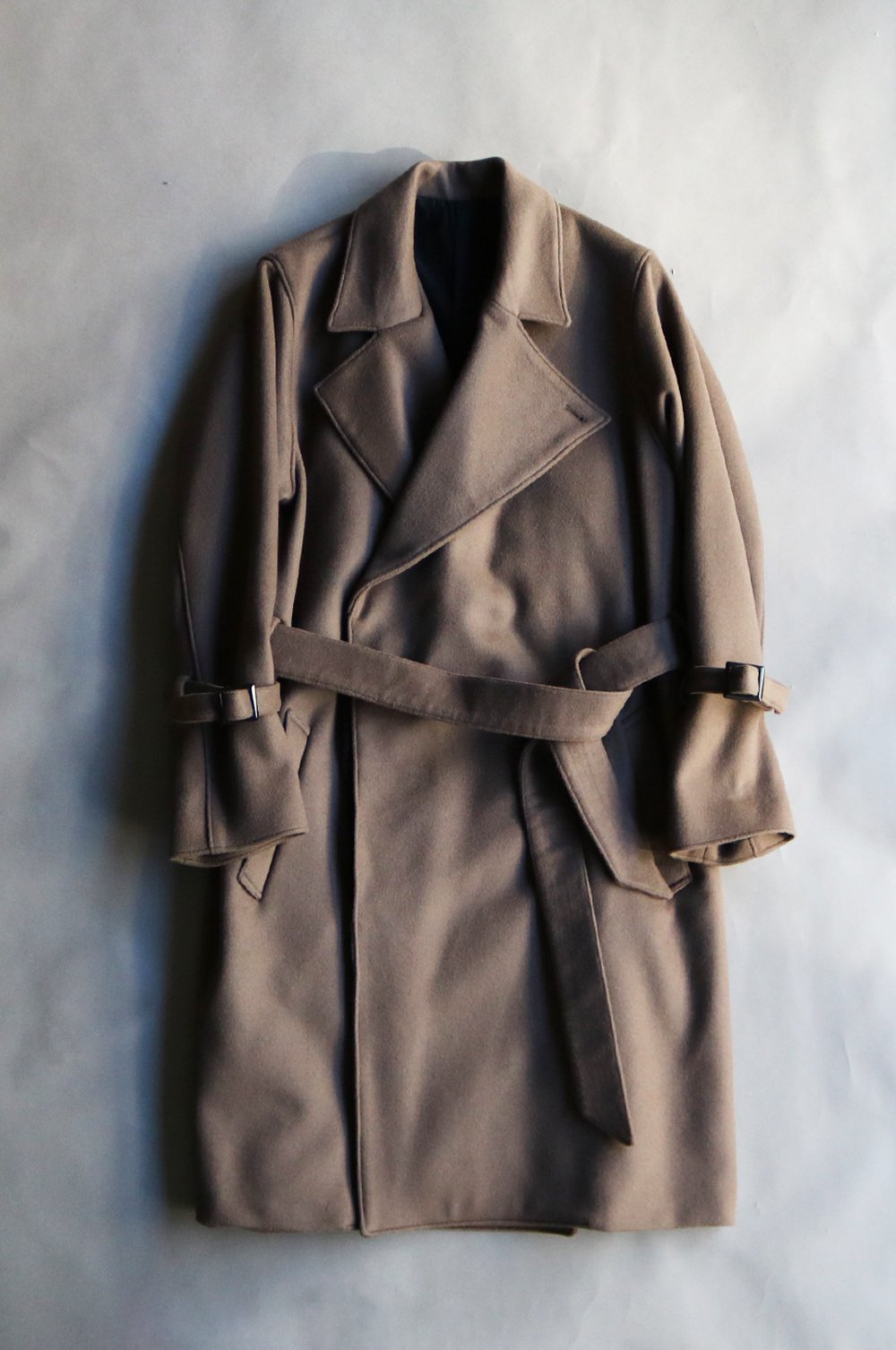 Wool melton belted coat