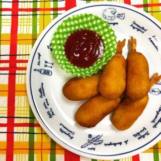 国産豚肉100%ソーセージのミニアメリカンドッグ 5本  (冷凍)  【クール便(冷凍)】