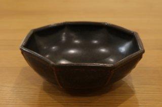 光藤 佐 黒釉八角鉢5.5寸