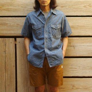 CORONA(コロナ) / NAVY 2POCKET SHIRT SHORT SLEEVE 半袖シャンブレーシャツ