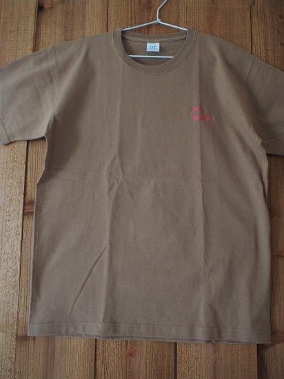 刺繍マウンテンTシャツ キャラメル
