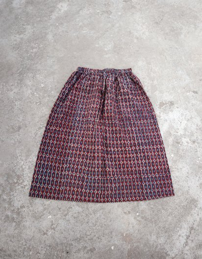 ブッダガヤ ブロックプリント スカート AJRAK 幾何学 Pink