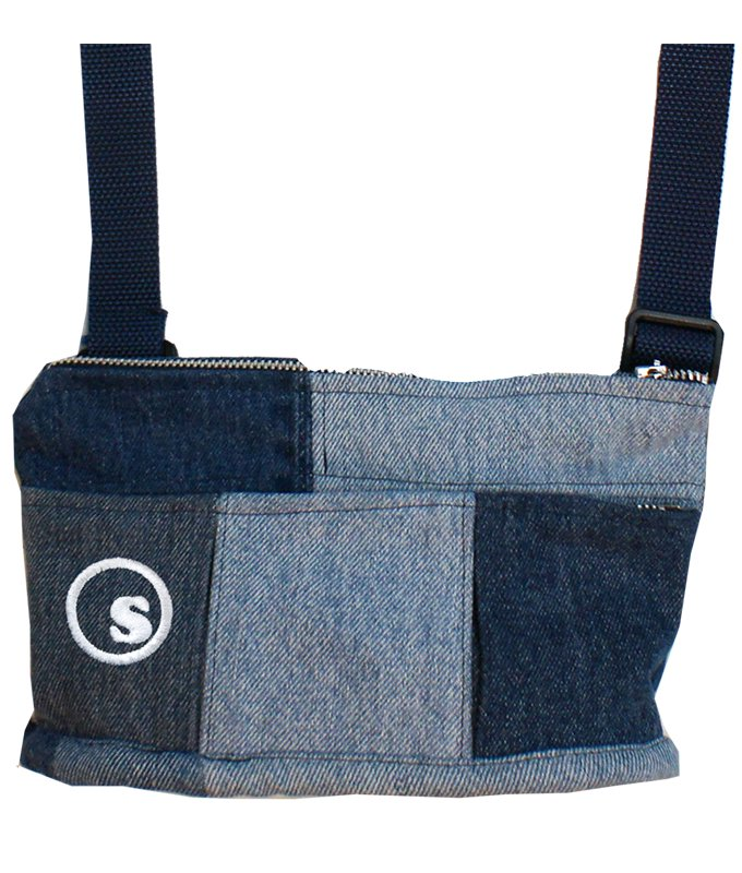denim crazy pattern mini bag