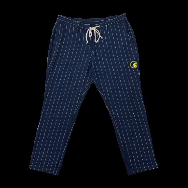 sd cotton hemp  stripe tapered pant