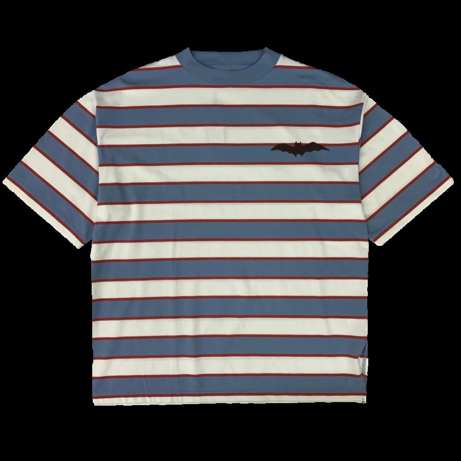 rg stripe combination mock neck T