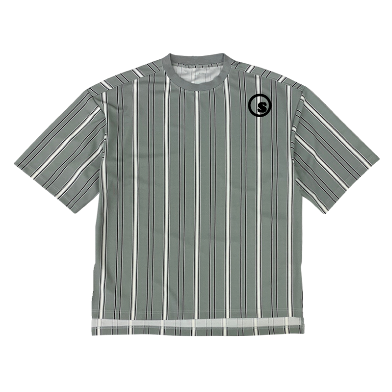 stripe over size crew t shirtsの商品イメージ