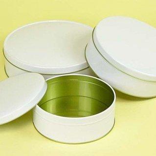 丸缶(平型) 白ベタ材 平丸缶