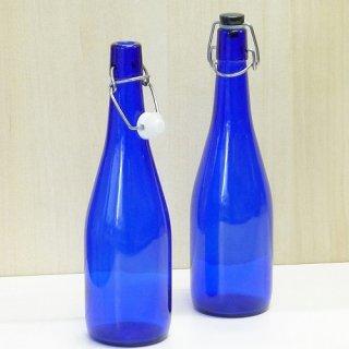 細口瓶(コルク栓・他) 機械栓瓶-720ml 青