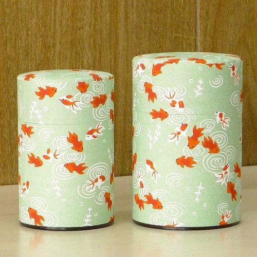 和紙茶缶 金魚(ミドリ)【画像2】
