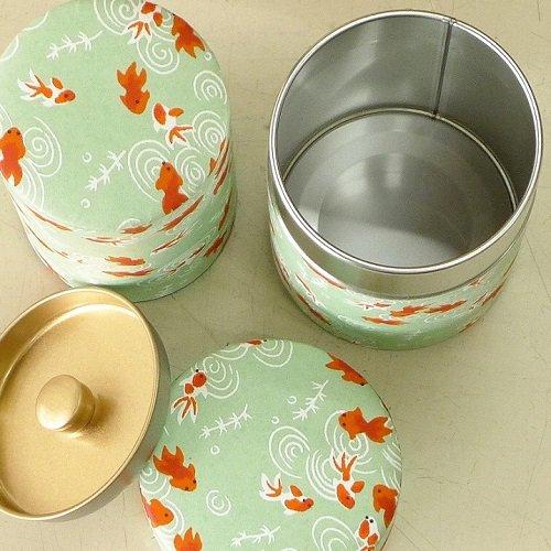 和紙茶缶 金魚(ミドリ)【画像5】