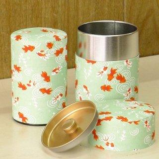 和紙缶・工芸缶 和紙茶缶 金魚(ミドリ)