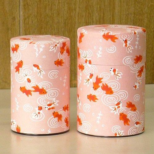 和紙茶缶 金魚(ピンク)
