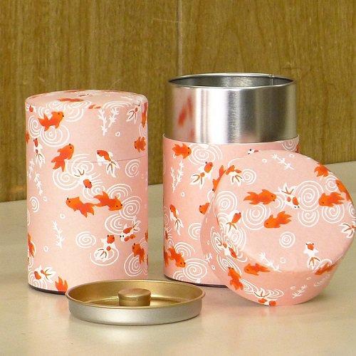 和紙茶缶 金魚(ピンク)【画像3】