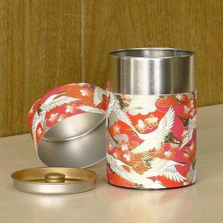 和紙缶・工芸缶 和紙茶缶 光鶴(アカ)