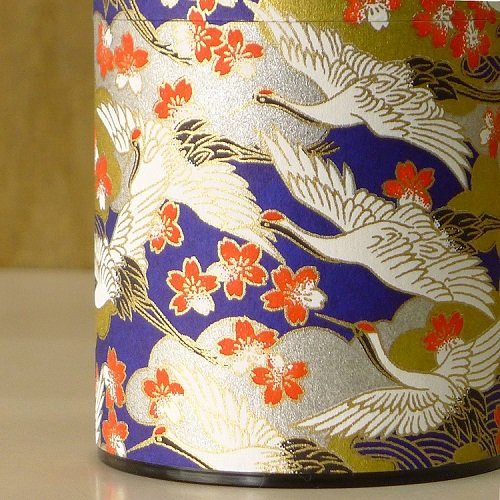 和紙茶缶 光鶴(アオ)