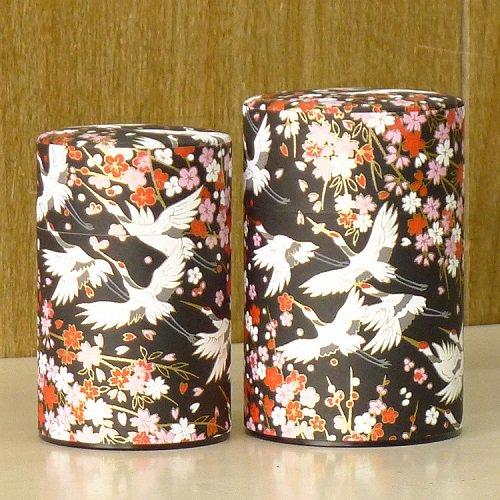 和紙茶缶 鶴(クロ)【画像2】
