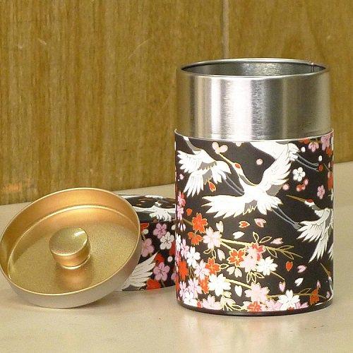 和紙茶缶 鶴(クロ)【画像3】