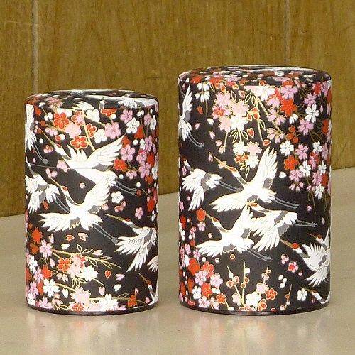 和紙茶缶 鶴(クロ)【画像4】